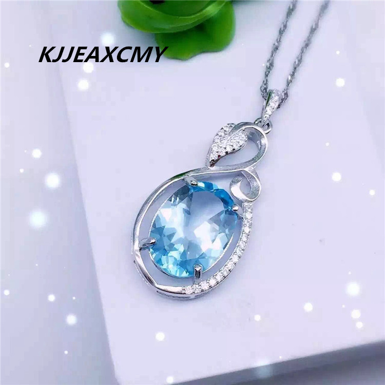 KJJEAXCMY boutique jewelry, Wholesale 925 Sterling Silver Jewelry Silver Natural Topaz Necklace Pendant shinv natural gem color