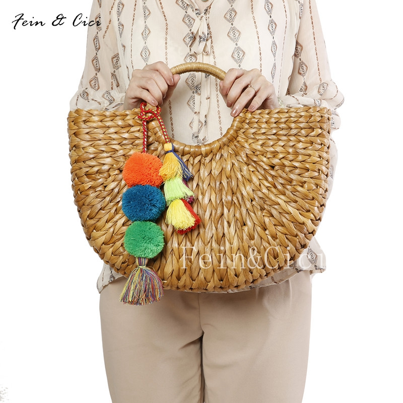 beach bag wicker straw basket totes bag bucket large big summer bags tassels pom pom women natural handbag 2018 new high quality straw clutch bag with pom pom