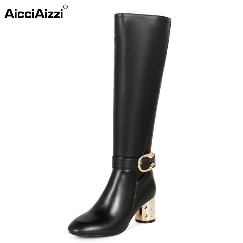 Women Real Leather Knee Boots Winter Snow Boots Ladies Sexy High Heel Fashion Zipper Women Riding Boots Women Shoes Size 34-39 woman real leather boots 2015 new winter boots black apricot zipper fashion martin boots 34 39 comfortable women knee high boots