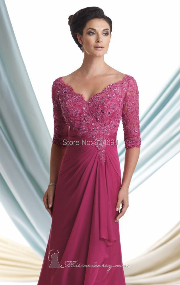 ed452fe2c5 New V neck Mother of the Bride Dresses raspberry A line 3 4 Sleeves Lace  Chiffon Wedding Maid of Honour Formal Dresses MC113925-in Mother of the  Bride ...