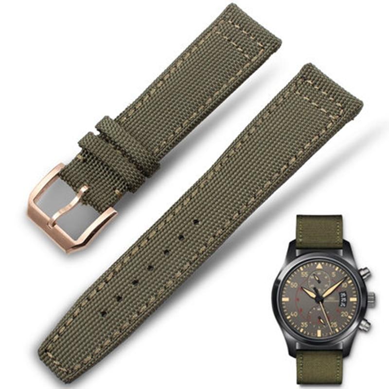b201eb5d4dd Tjp 20mm 21mm 22mm verde de nylon preto + relógio pulseiras de relógio da  correia de couro genuíno para iwc portugieser chronogra com fivela de prata  em ...