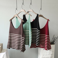 Autumn Winter Women New Loose Cute Knitting Vest 2017 Female Slim Type High Quality Blended Striped