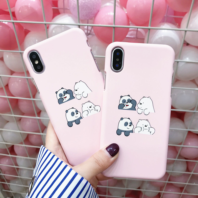Coque For Iphone X Cartoon Bear Slim Phone Case On For Iphone X Iphone 7 7Plus 6 6S 8 Plus Korean Style Case Cover Fundas Women