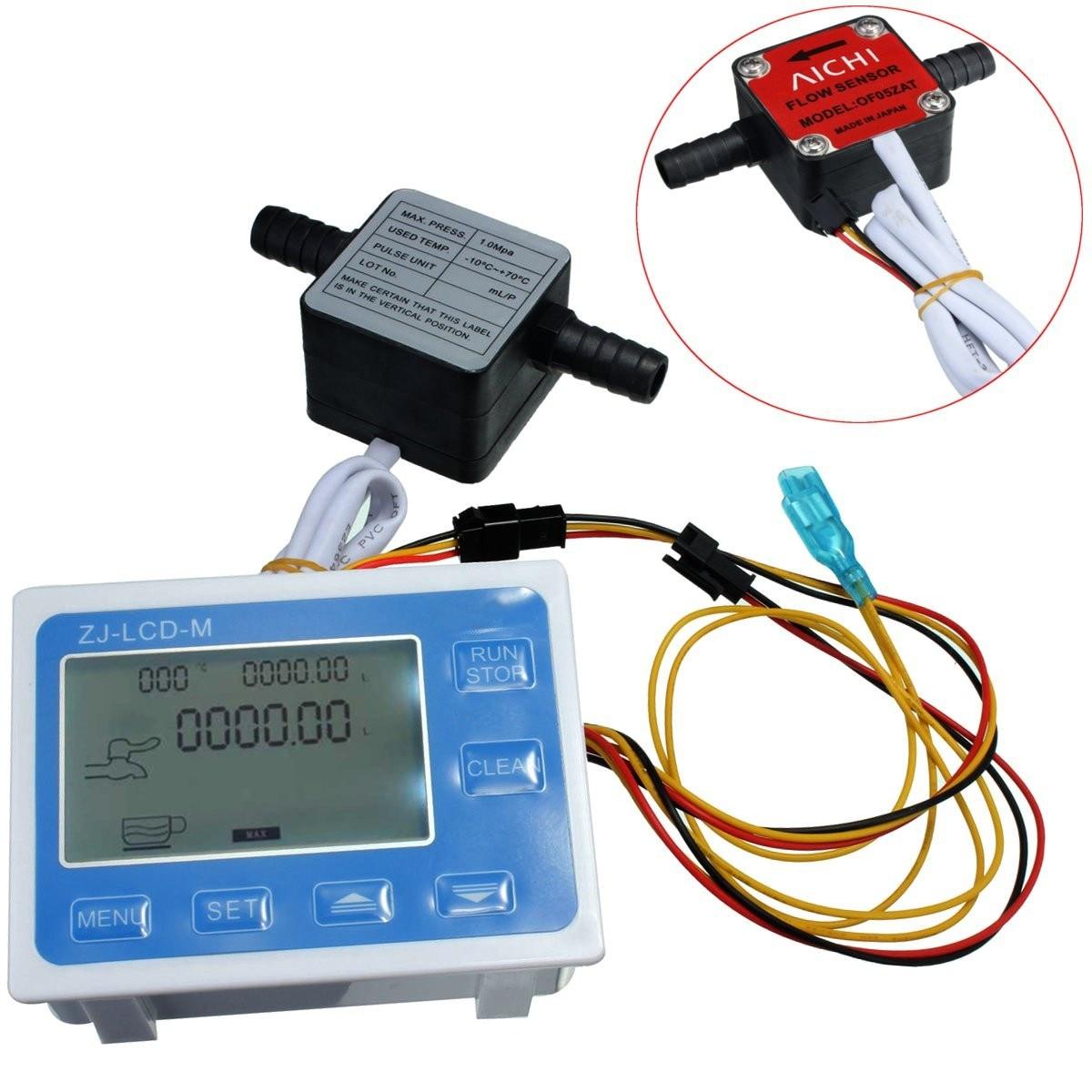 New High Quality Liquid Gear Flow Water Sensor Meter + LCD Digital Meter Quantitative Control Set