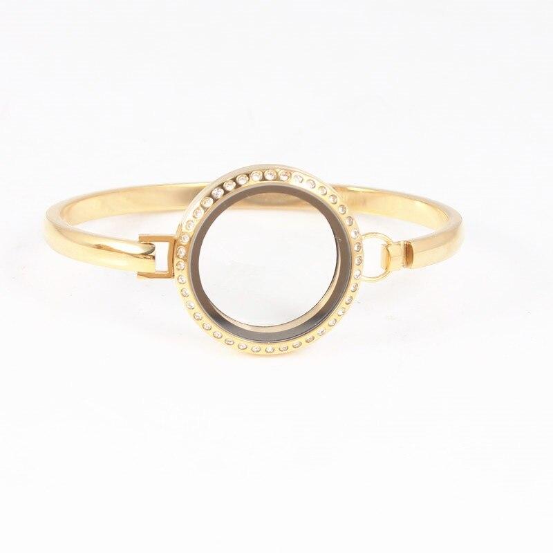 10Pcs/lot (Silver Gold Rose Gold Black Rainbow Color) 30mm Rhinestones Stainless Steel Floating Locket Bangle Bracelet Jewelry