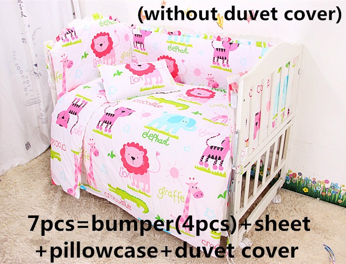Discount! 6/7pcs Cotton Baby Bedding Set baby bedclothes Cot bed Sheet Cartoon crib bedding set ,120*60/120*70cm