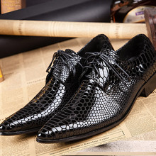 все цены на Mens pointed toe dress shoes crocodile skin men patent leather black shoes formal office wedding shoes spiked loafers italian