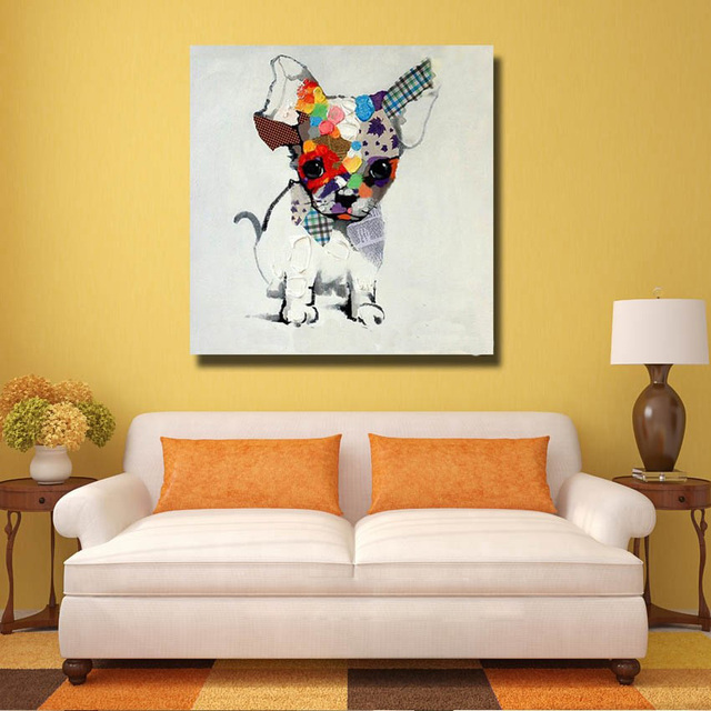 Large Free Shipping Handpainted Oil Painting On Canvas Dog Oil ...