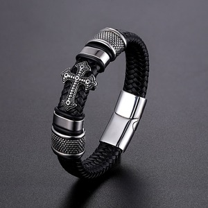 LKO Classical Multi-layer Handmade Leather Chain Weaved Man Bracelets Fashion New Magnet Clasp 316L Stainless Steel Wristband(China)