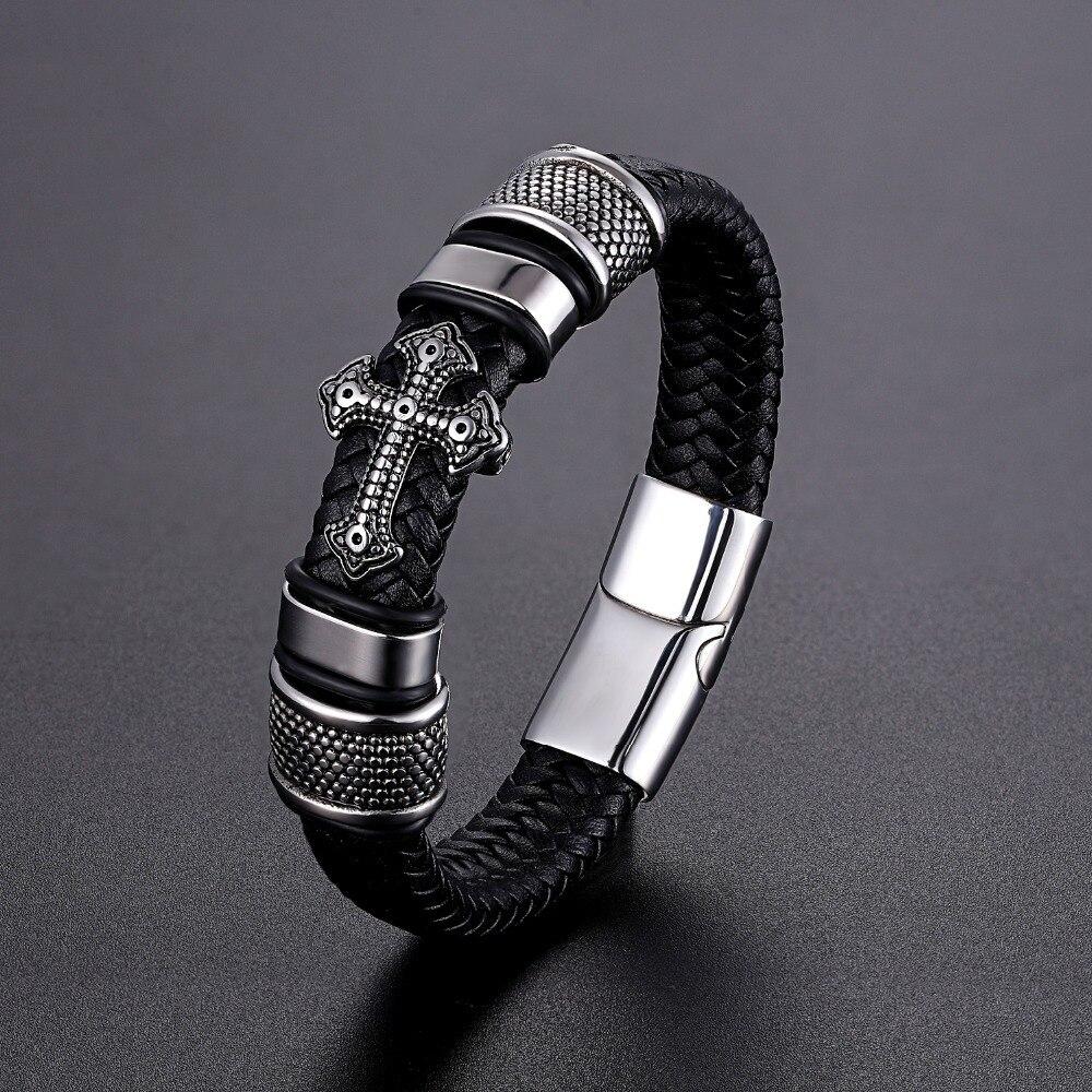 LKO Klassische Multi-schicht Handgemachte Leder Kette Gewebt Mann Armbänder Mode Neue Magnet Verschluss 316L Edelstahl Armband