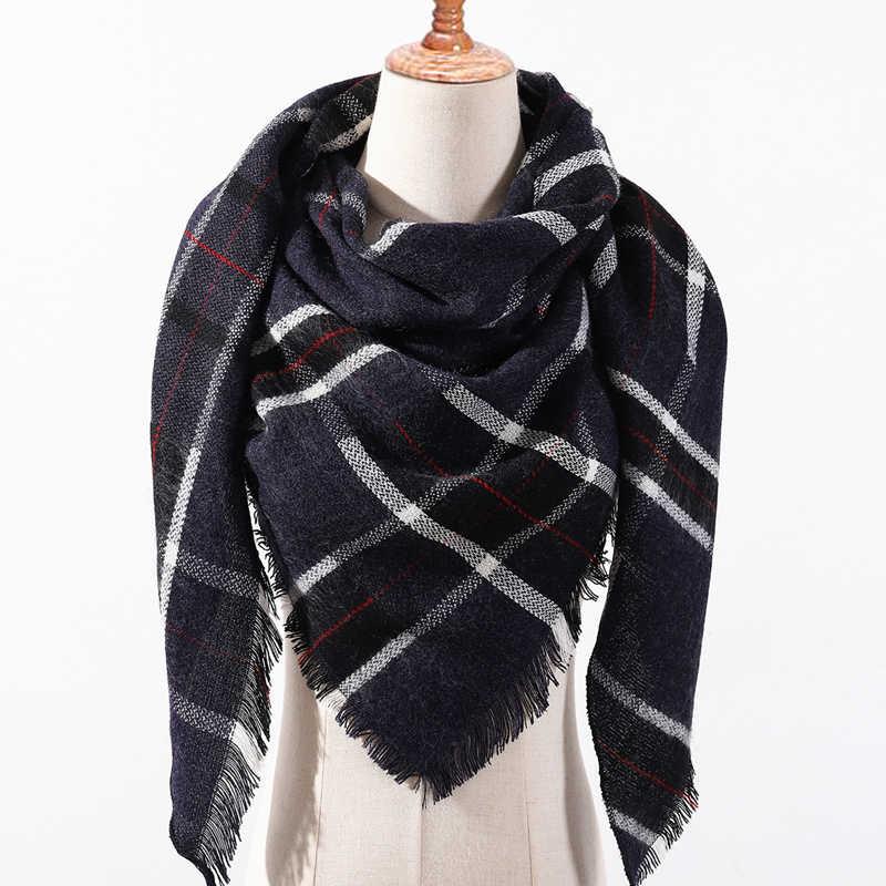 f0083287aa2da 2018 women scarf plaid winter cashmere scarves lady shawls bandana neck warm  knit Triangle Bandage foulard