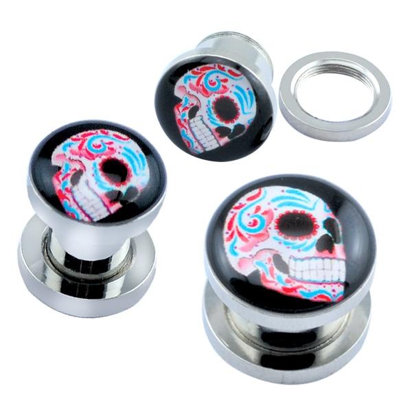 Day of the dead sugar skulls ear flesh tunnel screw ear for Day of the dead body jewelry