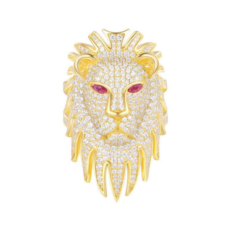 ZOZIRI Gold Color women's Style Punk Hip Hop red eyes Ring Cool Lion Head Band real silver zircon 925 Ring monaco Jewelry punk style solid color hollow out ring for women
