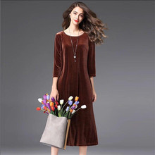 Брендовое женское вельветовое длинное офисное платье хорошего качества с рукавом три четверти, Элегантное зимнее велюровое платье размера плюс M-6XL 7XL