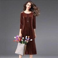 Brand good quality womne three quarter sleeve long office velvet dress,plus size M 6XL 7XL Elegant winter velour dress