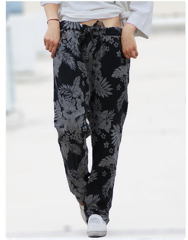 כותנה 2018 חורף חם סתיו נשים מכנסי הרמון מכנסיים רחבים מקרית בציר נשים בתוספת גודל מכנסיים באורך קרסול קוריאני סגנון חדש