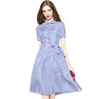 New Brand Women S Clothes OL Style Shirt Dress Short Sleeved Long Shirt Style Classic Striped