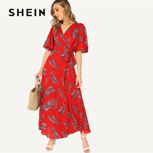 1a1d8e0f SHEIN Red Surplice Wrap Knot Leaves Print Summer Dress Women Boho Vacation  Casual V Neck Half Sleeve Belted Maxi Dress