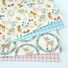 Deer printed Cotton Twill fabric for sewing upholstery cotton patchwork quilting dress making cloth