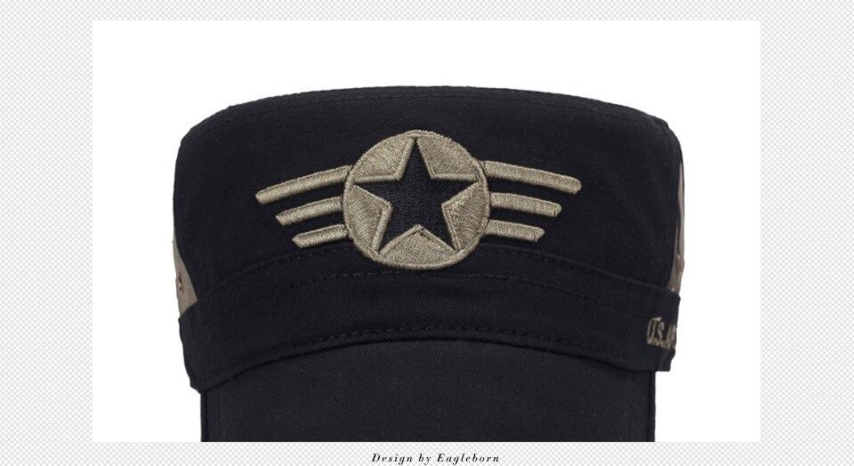 Männer Herbst Und Winter Einfarbig Exquisite Stickerei Militärischen Hüte Mode Leder Visier Herren Gewaschen Baumwolle Top Caps Kopfbedeckungen Für Herren