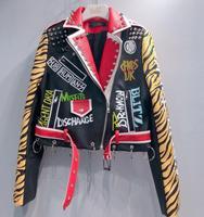 2019 Spring New fashion brand Thailand style rivet beading graffiti embroidery cartton locomotive Pu leather short jacket wq845