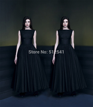 Free Shipping Black A Line Bateau Prom Dresses Satin Pleats Ruffle Cheap Ankle-length Women Gown yk1A170
