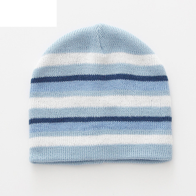 Autumn and winter simple striped knit hat children s cotton line solid  color helpless hat cute protection ear needle thread cap 077caacb3e1
