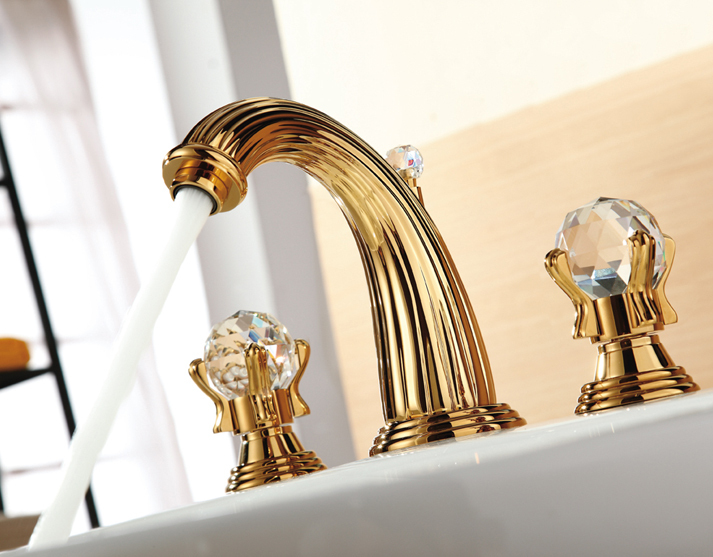 Buy free shipping 3 pieces gold finish - Gold bathroom faucets with crystal handles ...