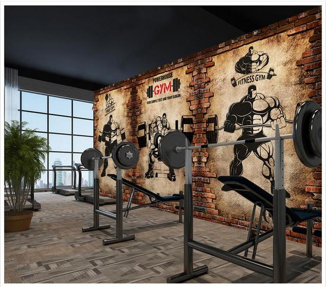 D wallpaper custom murals gym nostalgic