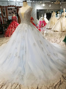 Image 2 - HTL057 beaed prom dress with train v neck sleeveless lace up v back ball gown party formal dress 2020 vestido de festa longo
