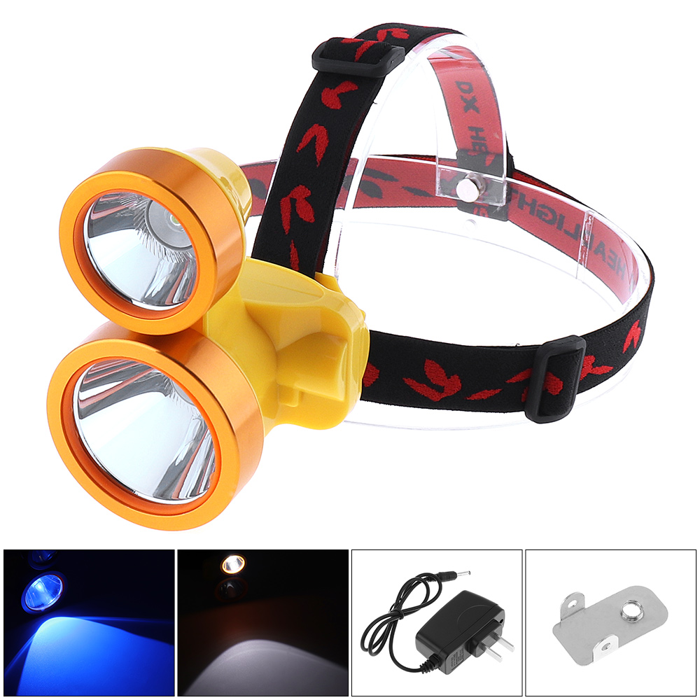 10W Head-mounted Detachable Strong Light Headlamp with Blue and White Double Light Source for Night Fishing 2018
