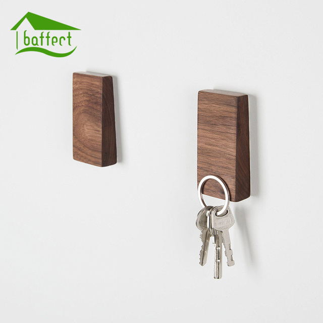 Creative Wood Magnetic Keys Hook Home Decor Minimalist Style Wall Hooks  Single hook Hangers Home Accessories