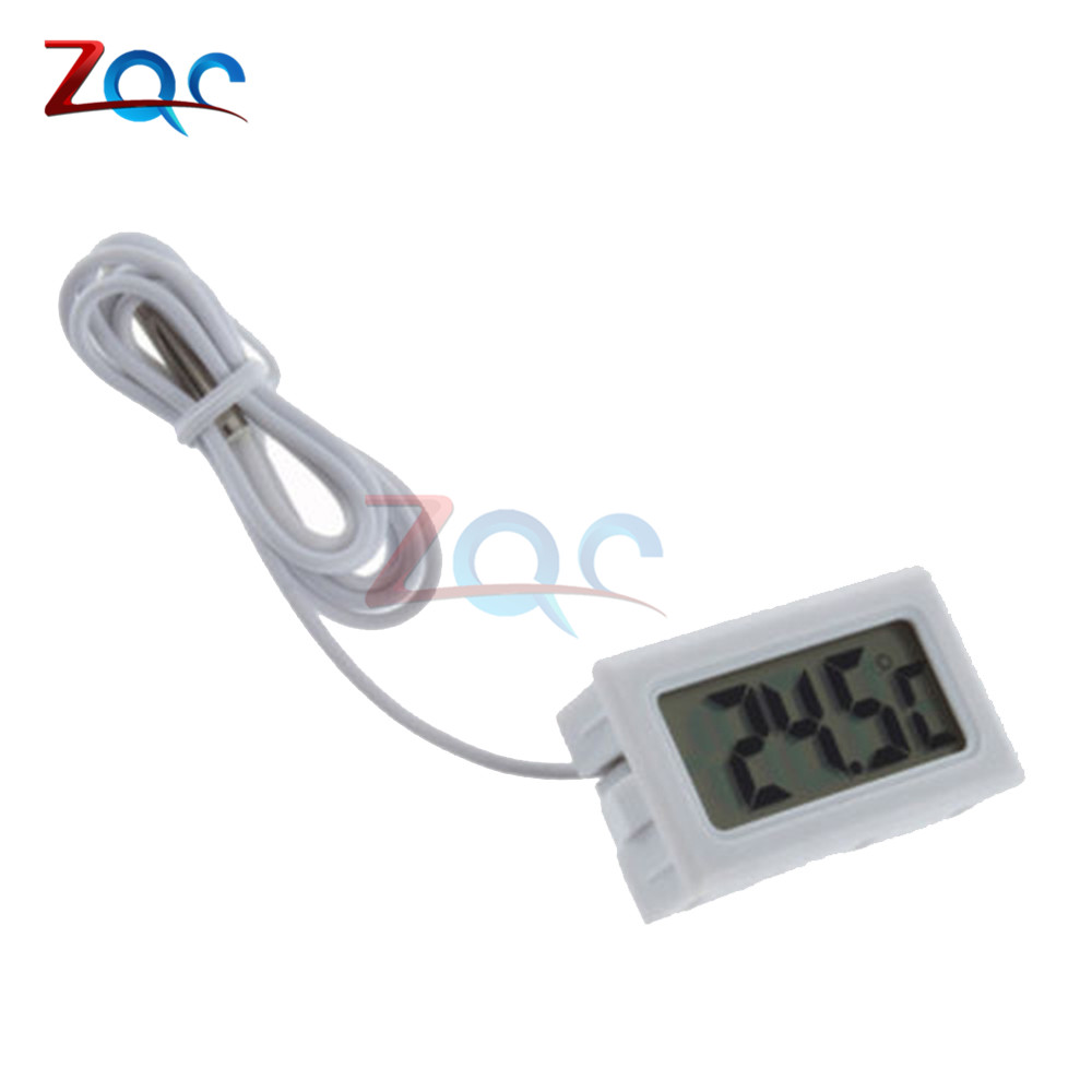 Mini LCD Digital Thermometer for Freezer Temperature -50~110 degree Refrigerator Fridge Thermometer indoor outdoor Probe 1M 2M