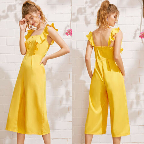 Fashion Ladies Baggy Solid Ruffle Women Summer Square Neck Overall Loose Causal Jumpsuit