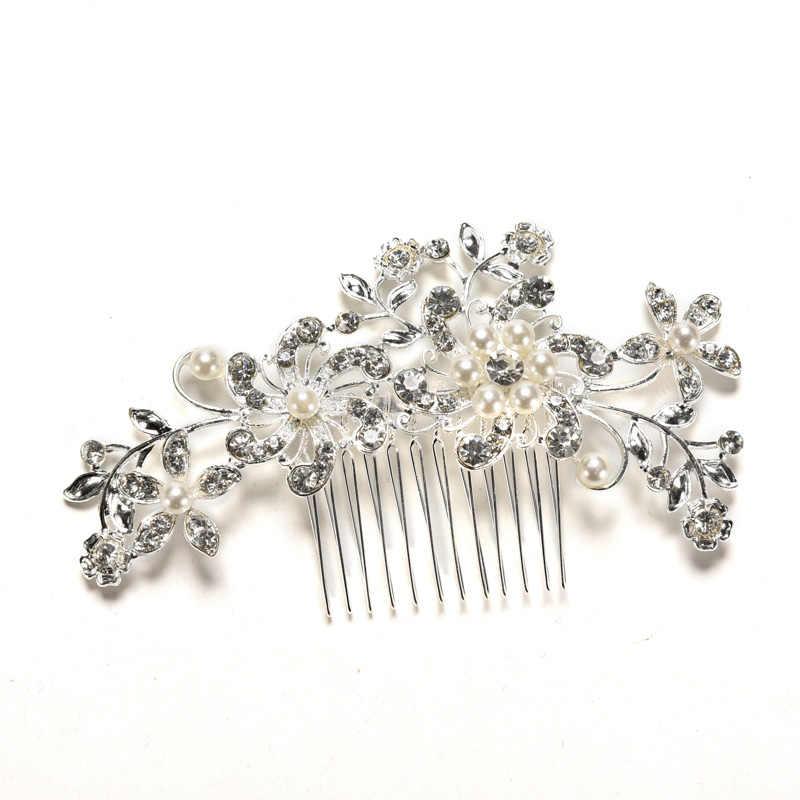 Peines de perlas de cristal Floral para el cabello de novia Tiara de boda brillante horquilla para el cabello accesorios plateados