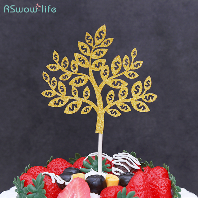 Birthday Cake Insert Money Tree Lucky Tree Cake Decoration Flag For