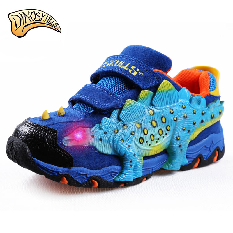 2019 garçons chaussures de sport rougeoyantes enfants en cuir véritable respirant chaussures LED tenis infantil 3D grand dinosaure chaussure lumineuse 27-34