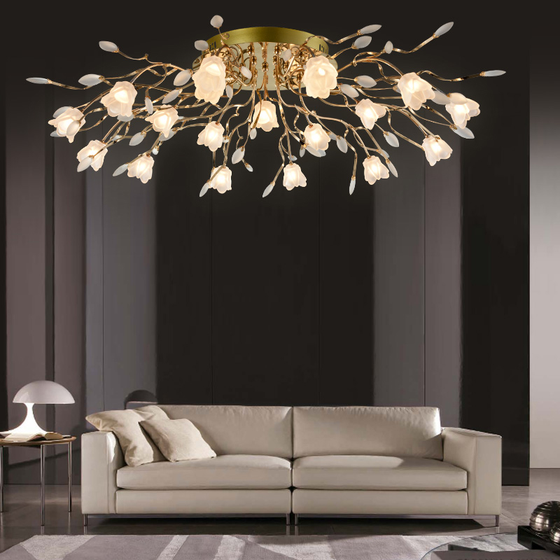 Ceiling Lights & Fans Chandeliers Modern Led American Garden Flower Chandelier Living Room Exquisite Carved Ceramic Lighting Restaurant Wrought Iron Pendant Lamps