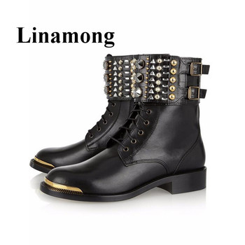 Hottest Black Flats Ankle Boots Fashion Round Toe Cross-tied Ankle Buckle Rivet personality Women Boots High Quality Normal Size