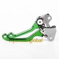 Hot One Pair CNC Pivot Dirttbike Brake Clutch Levers Green Color For Kawasaki KX250F 2013 2014