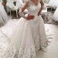 Vintage Lace Mermaid Wedding Dress 2017 Sexy V neck Long Sleeve Muslim Vestido De Noiva 2017 Detachable Train Wedding Gowns