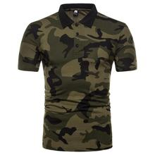 Camouflage Men Polo Shirt Short-sleeved Mens Clothing Tops Tees Army green Coffee