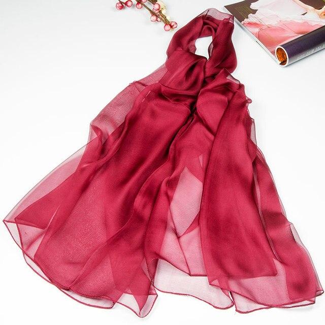 100% Silk Gauze Scarf Women Scarf Hot Large Solid Silk Shawl 2017 Top Silk Pashmina Long Big Silk Wrap Luxury Gift for Lady