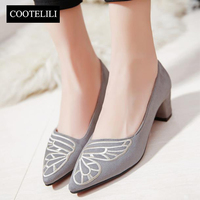 COOTELILI 25 39 Spring Casual High Heels Women Shoes Butterfly Embroider Elegant Pointed Toe Ladies Shoes