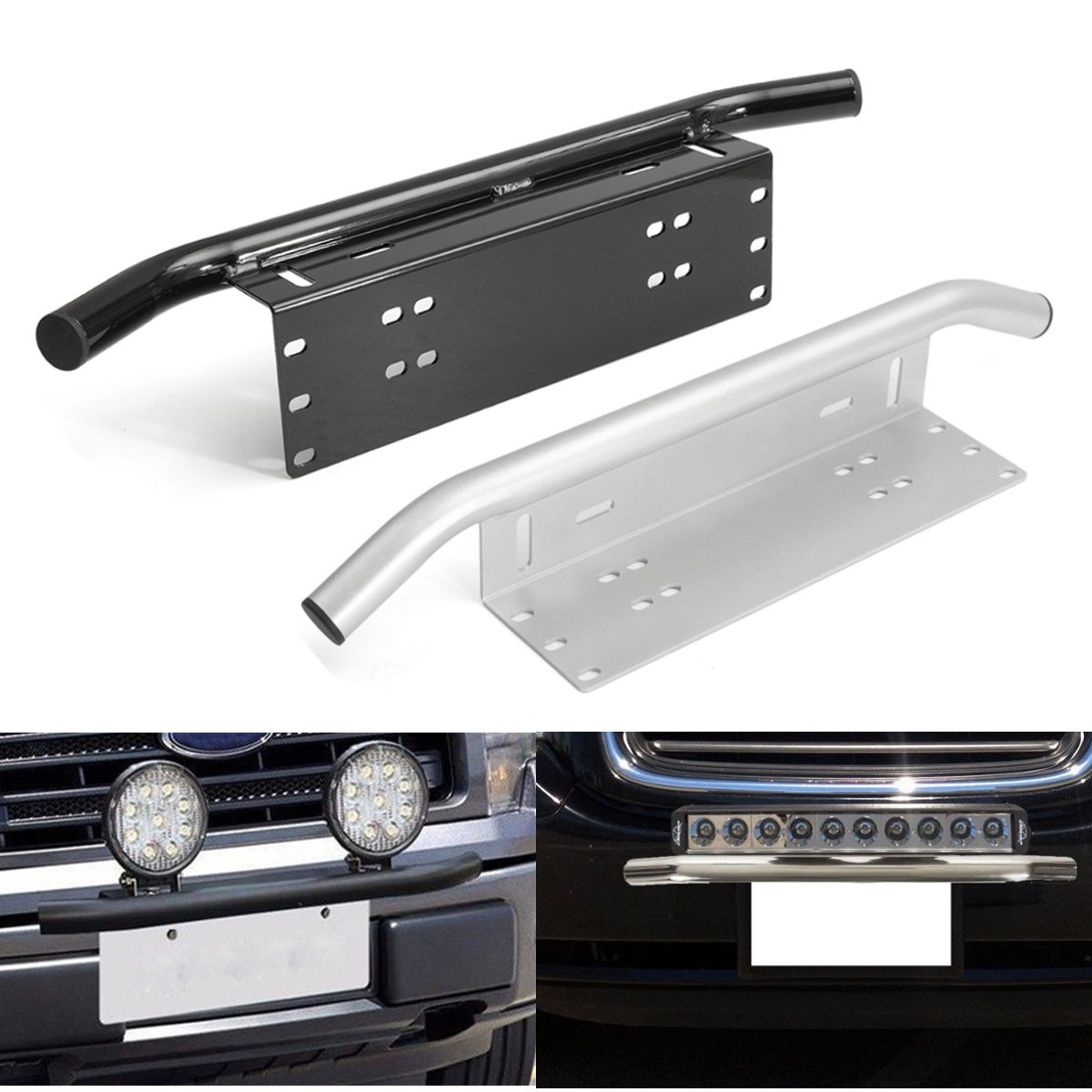 Black Silver Car Bull Bar Front Bumper License Plate Mount