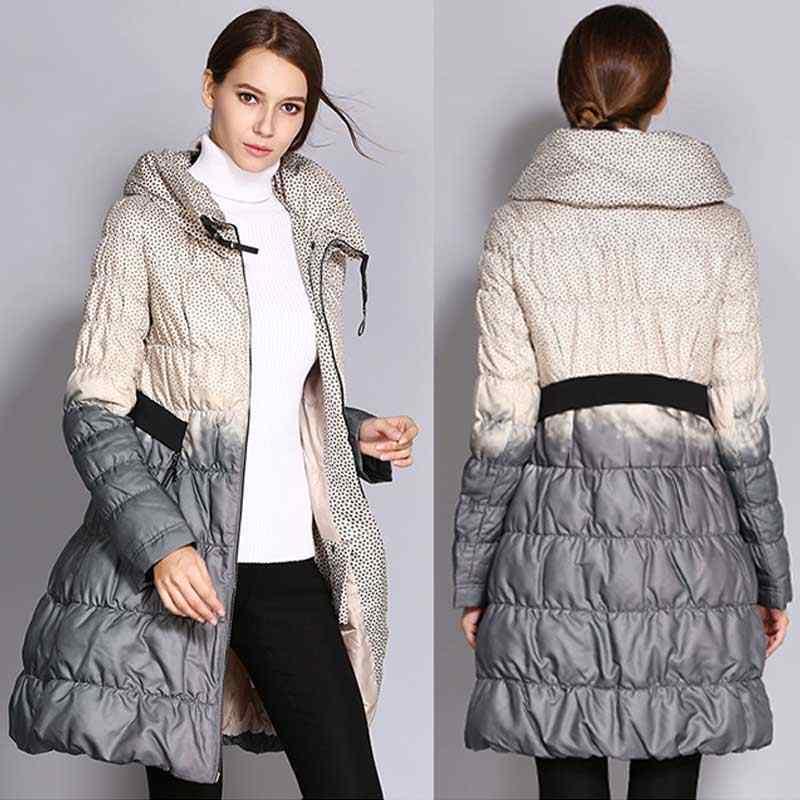 chaqueta mujer Thin Fashion Print Contrast Skirt winter Down Jacket Women 2018 Fashion Print High Neck Cotton Jacket Coat Parka