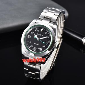 Image 3 - 40mm BLIGER זוהר מכאני גברים שעון ספיר קריסטל שחור חיוג אוטומטי mens שעון