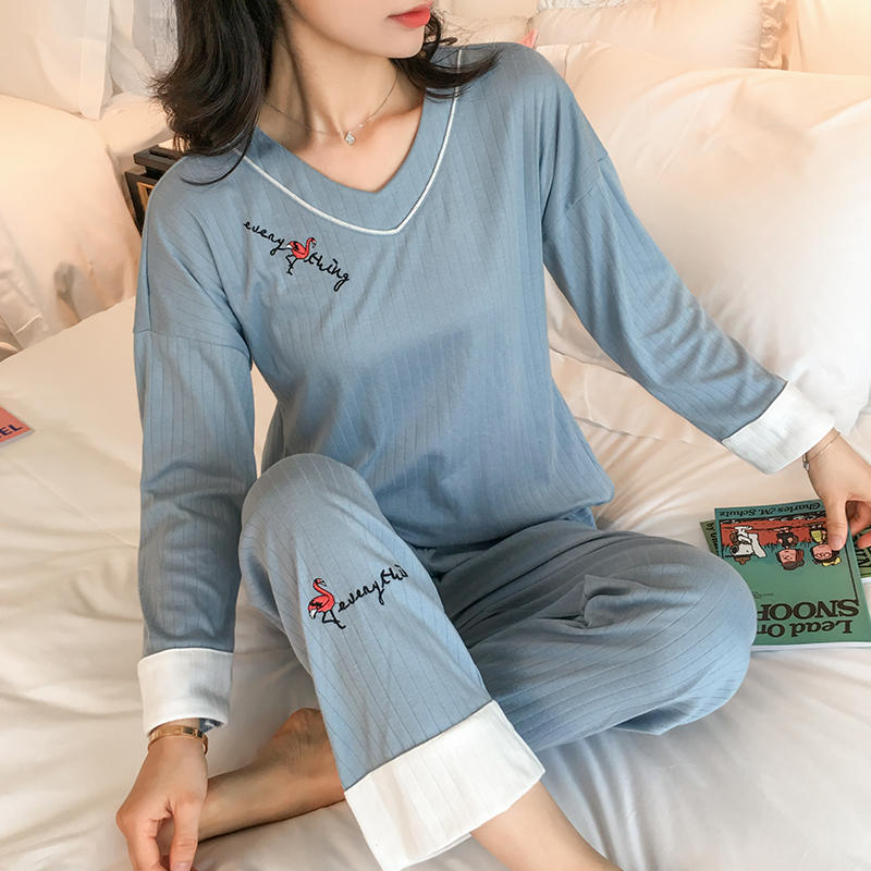 Fashion Women Wear Leisure Cloth 2019 Autumn Winter Long Sleeved Cotton Women   Pajamas     Set   Loose Waist Long Pant Sleepwear   Sets