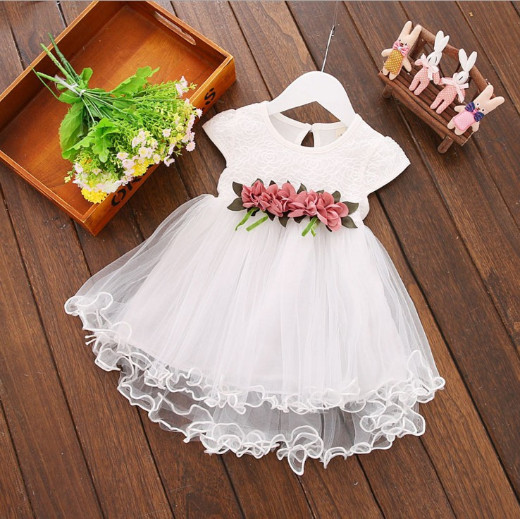 Summer children clothing 2018 new girl dress lace sleeveless flower puff baby dress 12M 18M 24 M 3 years old