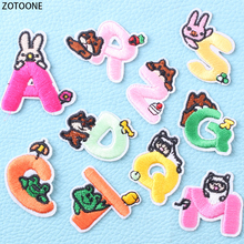 ZOTOONE Colorful Letters Patches for Clothing Embroidery Patch on Clothes Application Badges Stickers Appliques Kids Crafts